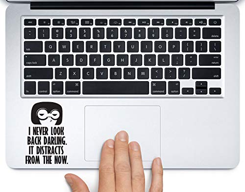 Edna Mode I Never Look Back Disney Printed Trackpad Clear Vinyl Decal Sticker Compatible with Apple MacBook Pro Air 11