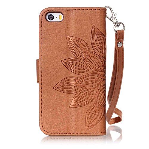 Funda iPhone 5s, Carcasa Plegable para iPhone SE, Funda de piel iPhone 5s, Lifetrut Sólido Shiny Sparkle libro de estilo funda de cuero con ranura para tarjetas de cierre magnético soporte funda de te E213-Flor en marrón