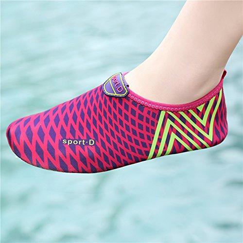 L-RUN Unisex Wasser Schuhe Barfuß Haut Schuhe für Dive Surf Swim Beach Yoga Rose Rot