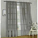Sheer curtains drape valance 78 x 35 panel - 8 Color Options 1 Piece (Gray)