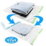 vacuum bag sealer for clothes - Space Saver Vacuum Bags - Compression Storage Bags For Clothes No Pump Needed - Traveling, Luggage, Suitcase - Double Zip Seal Sack Reusable Travel Packing Organizers - 5 Large + 5 Medium - Pack of 10