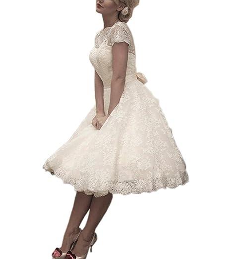 HUINI Short Sleeves Lace Wedding Dresses Cowl Neck Bowknot Sash Bridal Gowns: Amazon.co.uk: Clothing