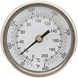 """PIC Gauge B3B6-PP 3"""" Dial Size, 50/400°F and 10/204°C, 6'' Stem Length, Back Angle Connection, Stainless Steel Case, 316 Stainless Steel Stem Bimetal Thermometer"""