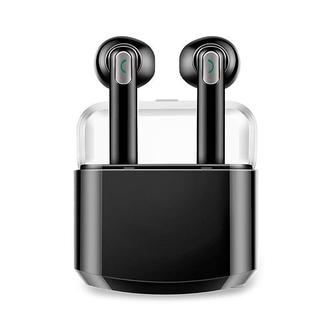 Auriculares Inalámbricos con Caja de Carga, Teepao Auriculares Bluetooth con Micrófono Mini Auriculares Intrauditivos a