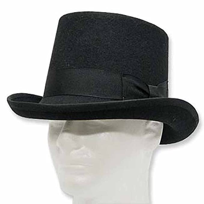 Victorian Men's Hats- Top Hats, Bowler, Gambler BUTTON VICTORIAN Mad Hatter Tall Top Hat Wool Felt Dress  AT vintagedancer.com