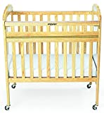 Angeles Compact Drop Gate Clear View Crib with Mirror, Natural