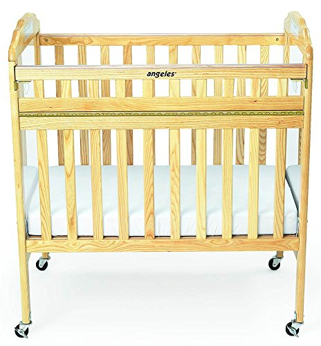 Angeles Compact Drop Gate Clear View Crib with Mirror, Natural by Angeles