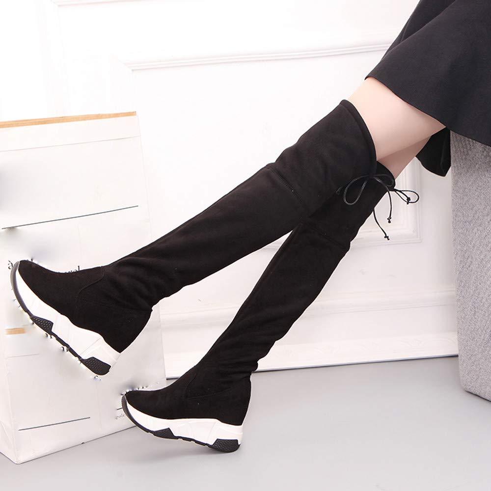 Memela Clearance Sale!Women Rear Tie Heel Martin Boots Tube Boots Long Boots Knee Platform Boots Shoes