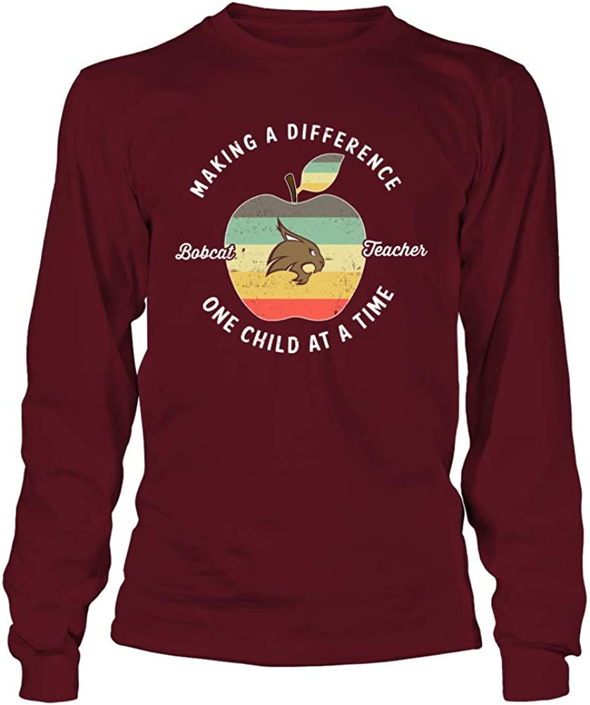 FanPrint Texas State Bobcats T-Shirt - Teacher - Difference Maker Apple Vintage Graphic - If17-Ic17-Ds75