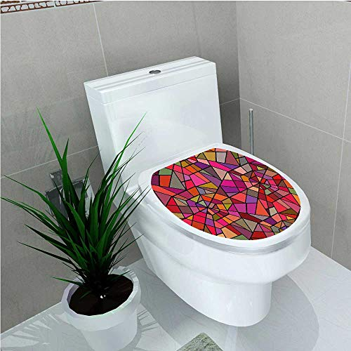 - aolankaili Toilet Seat Sticker Style Stained Glass Fractal Colorful Geometric Triangle Forms Artful Image Multicolor W12 x L14