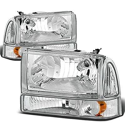 Replacement for Ford Super Duty/Excusion 4pcs Replacement Headlight+Bumper Light Kit (Chrome Housing Amber Reflector): Automotive
