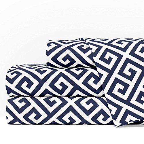 Italian Luxury Greek Key Pattern 4pc Sheet Set, Queen Size, Navy/White Color