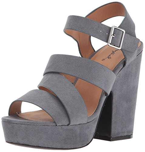 Inch Heel 1/2 Chunky Shoes - Qupid Women's Platform Sandal Heeled, Steel Grey Suede 8 M US