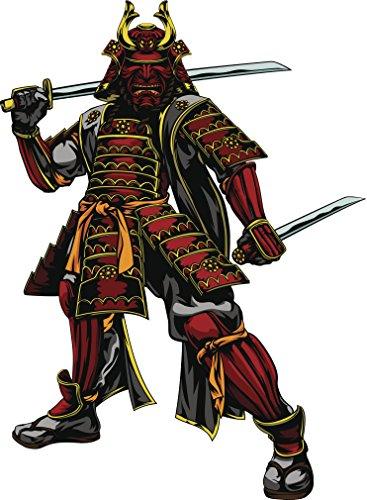 Red and Black Japanese Warrior Samurai Vinyl Decal Sticker (4