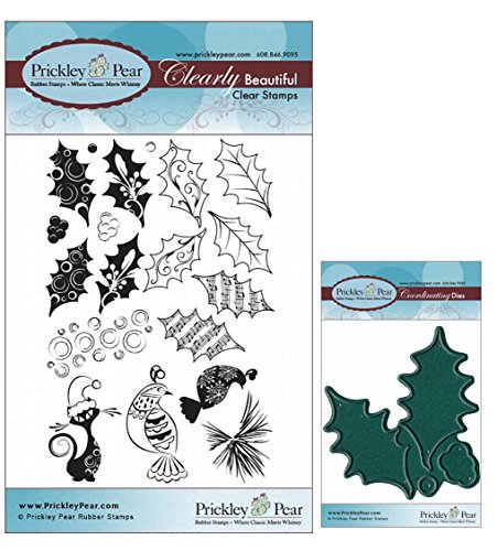 Prickley Pear Holly and Berries Clear Stamp and Die Set - CLR020 & PPRS-D020 - Bundle 2 Items
