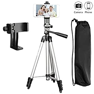 """Tripod for Phone with Phone Mount Holder, PEMOTech [3 in 1] 50"""" Lightweight Aluminum Camera Tripod + 360 Degree Rotating Universal Cell Phone Holder Mount + Water-resistant Travel Carrying Bag For iPhone X 8 8 Plus 7 7 Plus SE, Samsung Galaxy Note 8 S8 S8 Plus S7 S7 Edge S6 S6 Edge and More Phones & Cameras"""