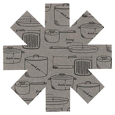 Now Designs Pan Protectors, Set of 3, Pots and Pans Grey Print