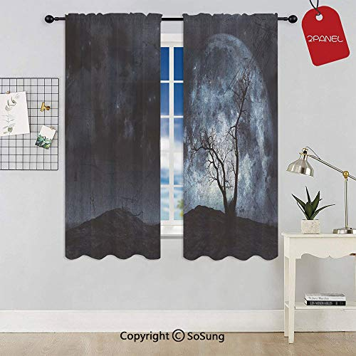 Night Moon Sky with Tree Silhouette Gothic Halloween Colors Scary Artsy Background Rod Pocket Sheer Voile Window Curtain Panels for Kids Room,Kitchen,Living Room & Bedroom,2 Panels,Each 42x72 Inch,Sl ()