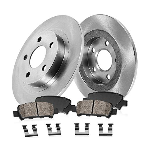 REAR 307 mm Premium OE 5 Lug [2] Brake Disc Rotors + [4] Ceramic Brake Pads + Clips