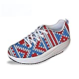 FOR U DESIGNS Cute Stripe Style Women's Cozy Fashion Sneaker Platform Wedge Running Shoes US 10