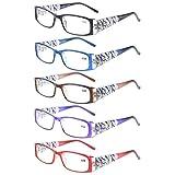 Eyekepper 5-Pack Stylish LookCrystal Aeropittura Arms Spring Hinges Womens Reading Glasses +0.75