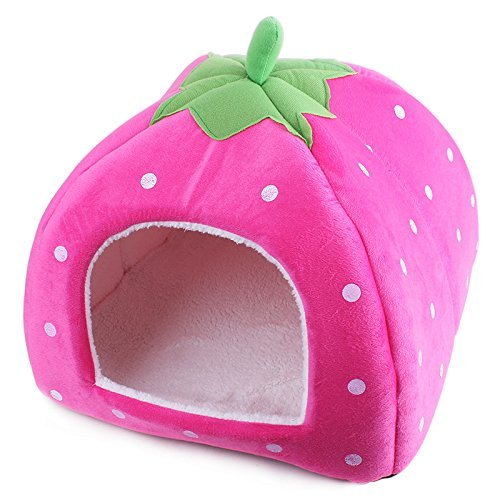 Komia-Strawberry-Style-Dog-Small-House-Cave-Soft-Pet-Bed-Modern-Puppy-Dog-Cat-Bed-Covers
