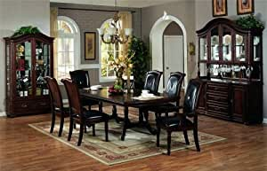 formal dining room sets with leather chairs | Amazon.com: 7pc Cherry Finish Wood Formal Dining Table & 6 ...