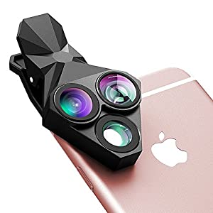 Phone Camera Lens, Stoon 3 in 1 160° Fisheye Lens & 20X Macro Lens & Super Wide Angle Lens, Clip-on Cell Phone Lens Kit for iPhone 7/ 6/ 6s Plus/ 5S/ 4/ 4S, HUAWEI, Sony, HTC, iPad 0.65X