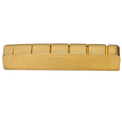Sharplace Cejilla Cejuela Ranurada para Guitarra Eléctrica de 6 Cuerdas - Latón, Color Oro, 42mm/43mm - 42 x 6 x 8mm: Amazon.es: Instrumentos musicales