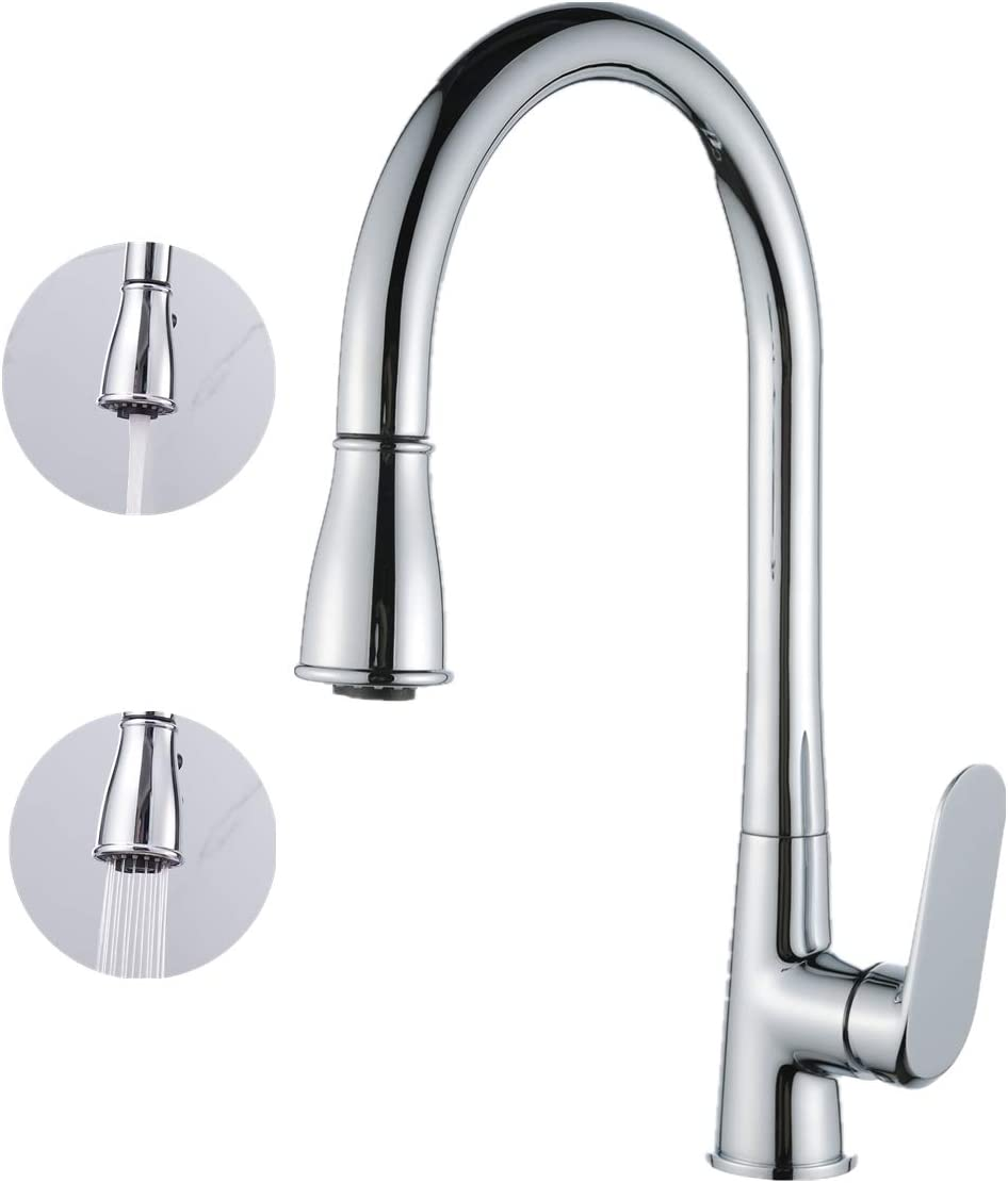 Casavilla Kitchen Sink Mixer Taps Single Lever Swivel Kitchen Faucet Sprayer with Pull Out Spray WAS £85 NOW £42.50 w/code RIFK4P3V @ Amazon