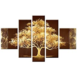 Santin Art-Golden Tree-Modern Canvas Art Wall Decor Landscape Oil Painting Wa...