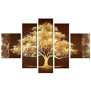 Santin Art Large Size Golden Tree Modern Canvas Art Wall Decor Landscape Oil Painting Wall Art Wall Decor Home Decorations