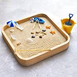 Kenley Mini Sandbox for Desk - Miniature Beach & Zen Garden - Sand Toys Play Kit for Kids Adults Desktop Office - Sand Box Gift Set with Natural Sand Wooden Tray Lid Rakes Rocks & Accessories