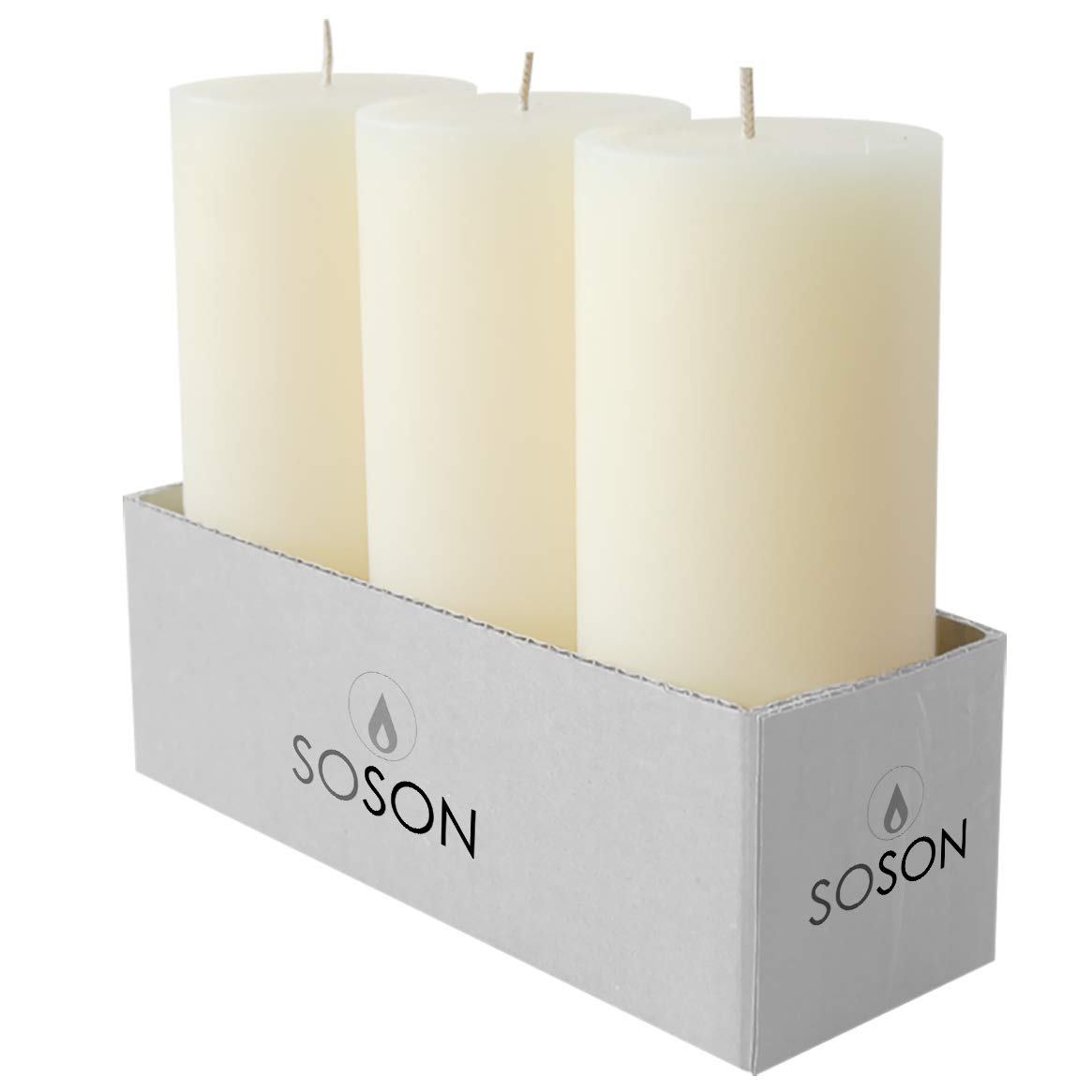 Simply Soson 6 Ivory Pillar Candles 3x6 | unscented Pillar Candles | Dripless Pillar Candles Bulk (6 Pack) Code 2258 by Simply Soson (Image #2)
