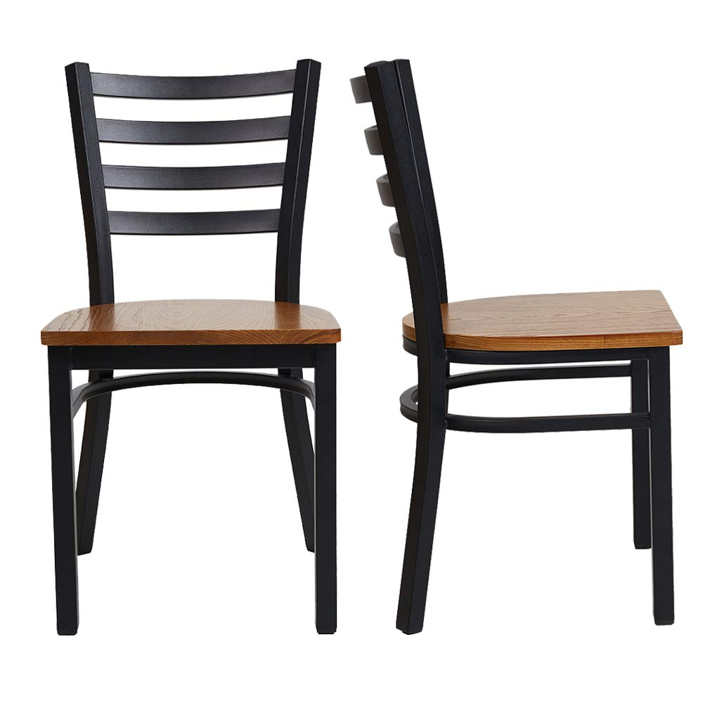 LUCKYERMORE Heavy Duty Kitchen Dining Side Chairs Set of 2 with Wood Seat and Metal Frame Restaurant Chairs for Commercial and Residential Use, Ladder Back
