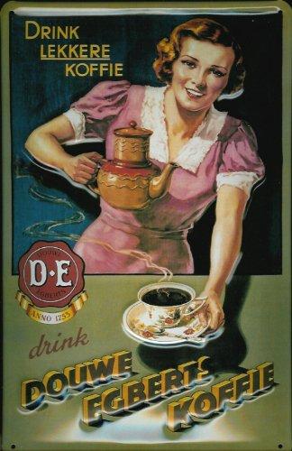 Blechschild Nostalgieschild Douwe Egberts Koffie Kaffee rosa retro ...