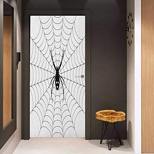 Onefzc Pantry Sticker for Door Spider Web Poisonous Bug Venom Thread Circular Cobweb Arachnid Cartoon Halloween Icon Sticker Removable Door Decal W32 x H80 Black White]()