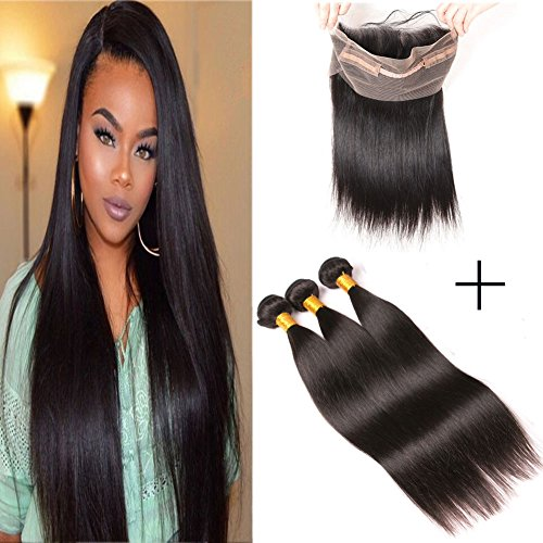 360 Lace Frontal With Bundles Brazilian Straight Hair Pre Plucked Human Hair Weave 100% Unprocessed Virgin Remy Sew In Hair Wet And Wavy Bleached Knots Double Weft Natural Color (18 20 22 +16(360))