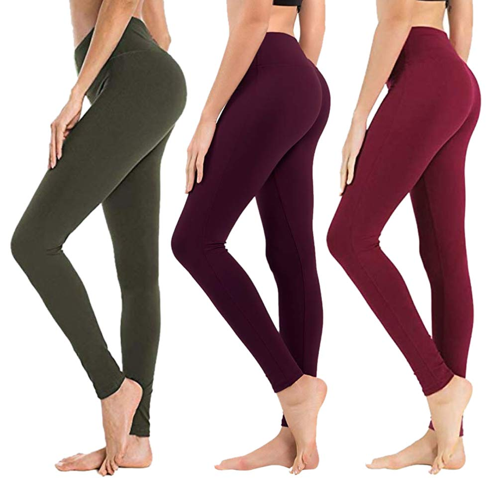 High Waisted Leggings for Women - Soft Athletic Yoga Pants - Reg & Plus Size (3 Pack Olive, Vintage Violet, Wine, Plus Size (US 12-24)) by SYRINX