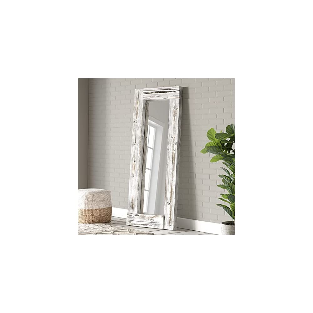 """Barnyard Designs 24"""" x 58"""" Decorative Wall or Floor Mirror, Rustic Whitewashed Wooden Frame, Vertical and Horizontal Hanging Farmhouse Mirror Decor, White"""