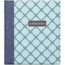 "C.R. Gibson Refillable Address Book, 6-Ring Binder Format, Tabbed Dividers, 4 Entries Per Page, 440 Contacts, Measures 6.5"" x 7.25"" - Ocean's Depth"