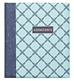 C.R. Gibson Refillable Address Book, 6-Ring Binder Format, Tabbed Dividers, 4 Entries Per Page, 440 Contacts, Measures 6.5'' x 7.25'' - Ocean's Depth