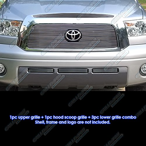 APS Compatible with 2007-2009 Toyota Tundra Logo Show with Hood Scoop Billet Grille Grill Combo