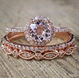 2 Carat Morganite and Diamond Trio Wedding Ring Set On Rose Gold with Engagement Ring and Two Wedding Bands