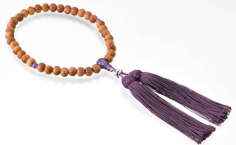 京念珠 白檀(女性用片手持ち) 紫水晶 B008Y9O4GU