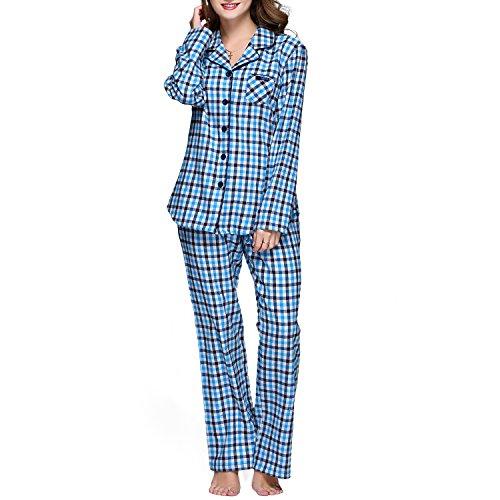 JOHN&ELAINE Women's Cotton Plaid Pajamas Set Long Sleeve Button Down Flannel Lounge Sleepwear (XL, Sky-Blue Plaid) (Cotton Plaid Set Pajama)