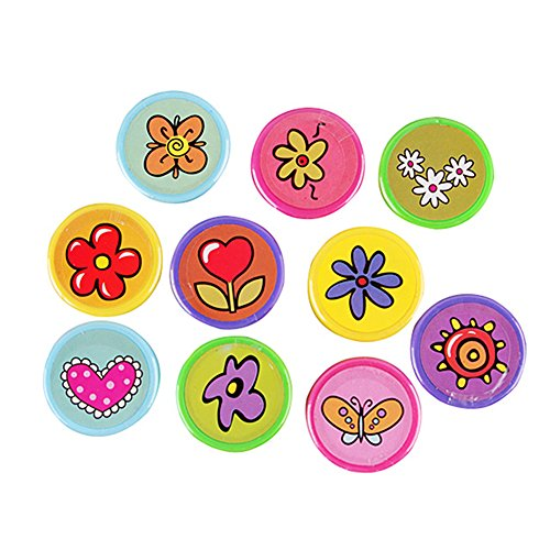 Lanlan 10 pcs Cute Plastic Stamps Different Flowers Patterns Print Craft Art Ink Set Kindergarten Teacher Prizes Props Children's Day Christmas New Year Birthday Toy Gift Party Favor Set (Halloween Kindergarten Arts Crafts)