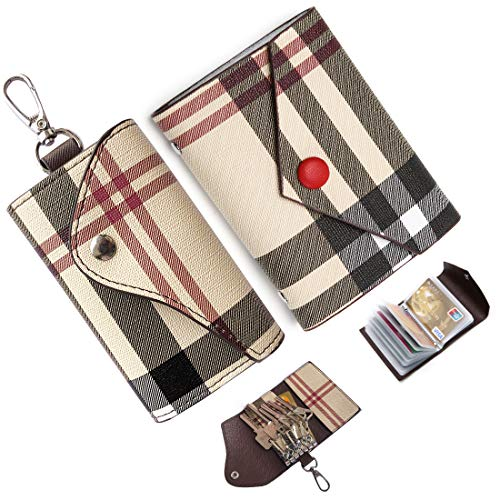 Key case for Women and men Leather Small Credit Card Holder Mini card case Plaid Car Holder Bag Purse Pouch Keychain Card Holder Wallet Mini Canvas Leather Coin Purse (Beige)