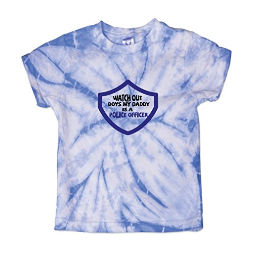 ut Boys My Daddy is A Police Officer Baby Kid 100% Cotton Tie Dye Fine Jersey T-Shirt Tee - Carolina Blue, 3T ()