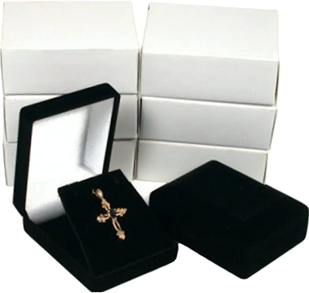 6 Necklace Pendant Gift Boxes Jewelry Displays Black